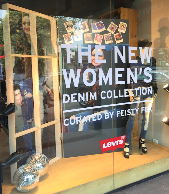 Levis Store Window curated by Feisty Fox ,fashion blogger, Feisty Fox Diaries, Stephanie Timmins, Levis Delhi Store
