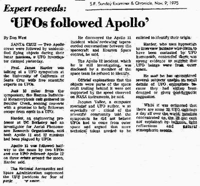 UFOs Follow Apollo - San Francisco Chronicle 11-9-1975