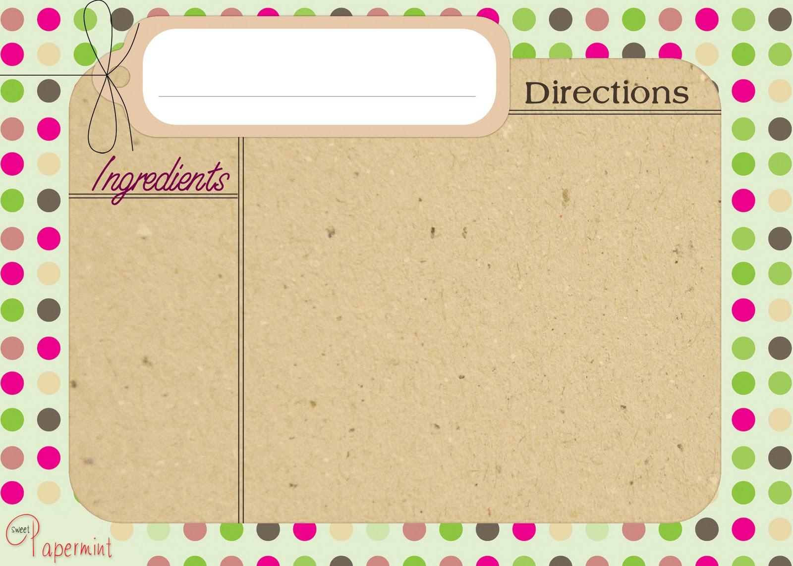 Free christmas recipe card templates new calendar template site