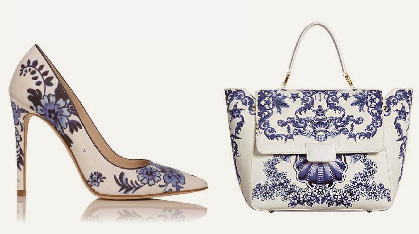 sapato e bolsa em azulejo