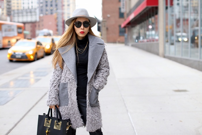 ASOS coat with Faux Fur Body and Contrast Collar, sophie huleme tote, gorjana necklace, kendra scott earrings, blank denim moto pants, cat footwear boots, hat attack ny hat, boss coat, fashion blog, winter fashion, karen walker harvest sunglasses
