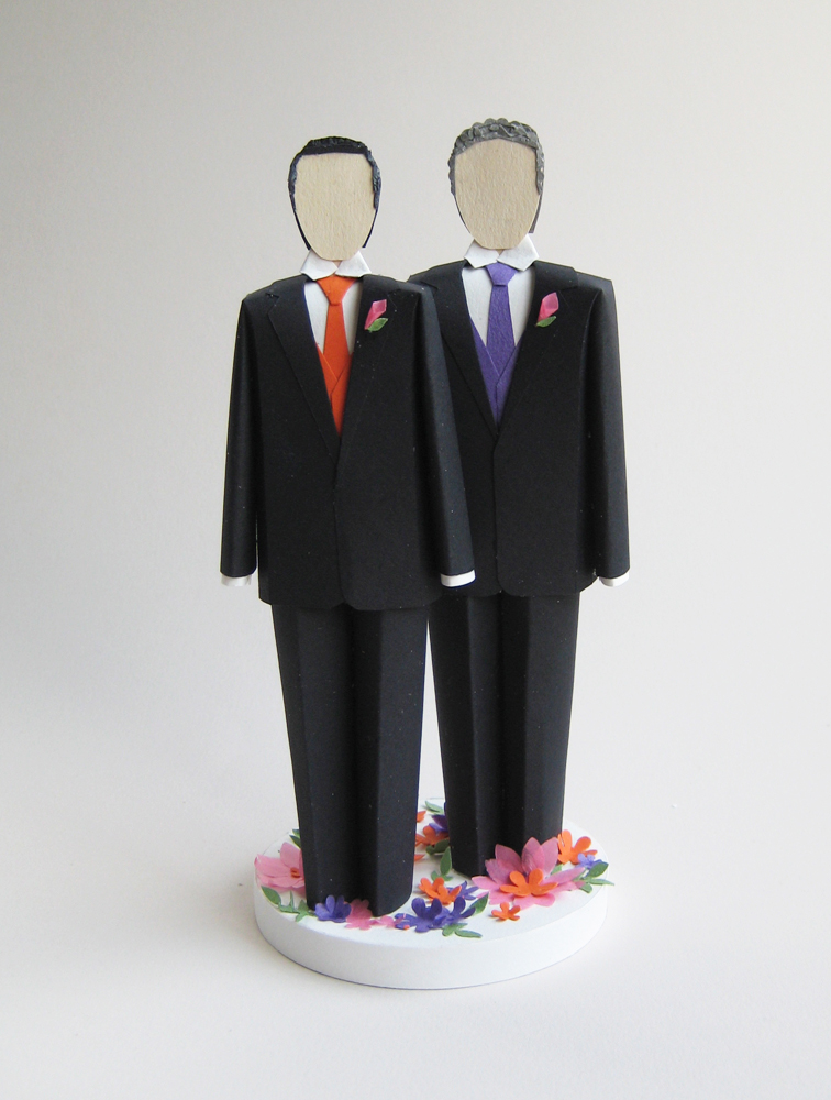 Concarta Paper Sculpture Cake Toppers For Weddings Anniversaries And Events Two Grooms