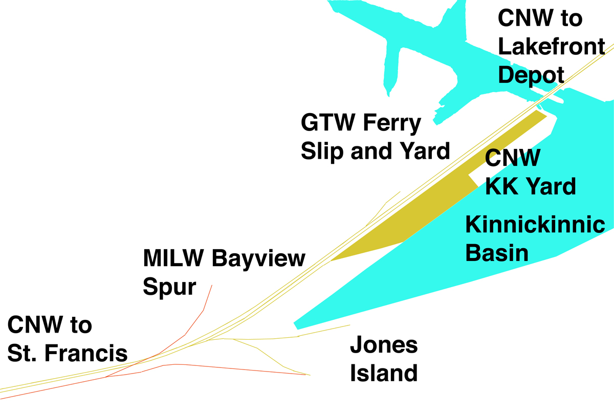 and the approximate length of the kinnickinnic basin is 2200 feet as in the prior post i ve used a yellow color to indicate cnw trackage milwaukee