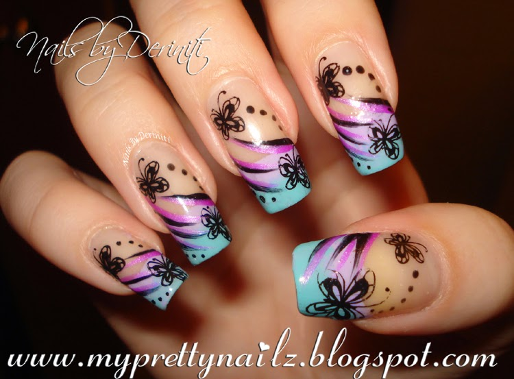 My Pretty Nailz Butterfly Tips Ombre French Tip Design With
