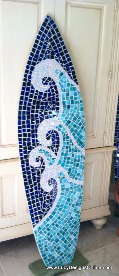 Mosaic Surfboard Art Stained Glass Wave Palm Tree