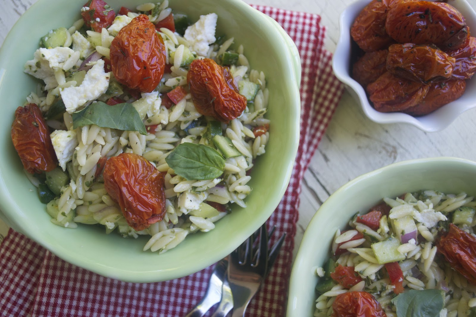 Orzo Salad with Roasted Tomatoes, Lemon Basil Vinaigrette and Ricotta ...