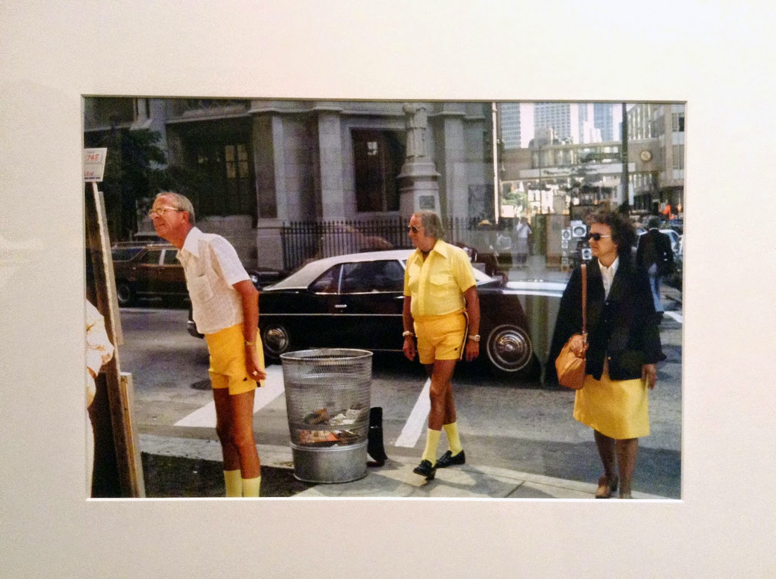 three people in yellow, Chicago, IL, 1975
