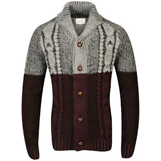 Brave Soul Men's Alpha Shawl Neck Button Through Cardigan - Grey/Bordeaux