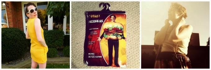 Instagram pics, pictures, yellow dress, Lauren Moffatt skirt, burger costume, hamburger costume, Hallowe'en costume, Halloween, A Coin For the Well, Suzanne Amlin, blog, blogger