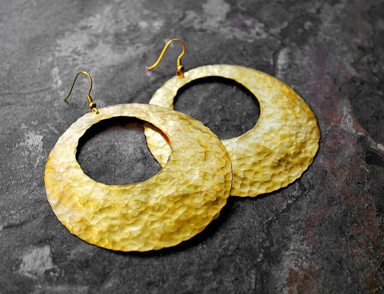 african hammered brass hoop earrings