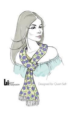 dibujo figurin moda, mujer con un pañuelo