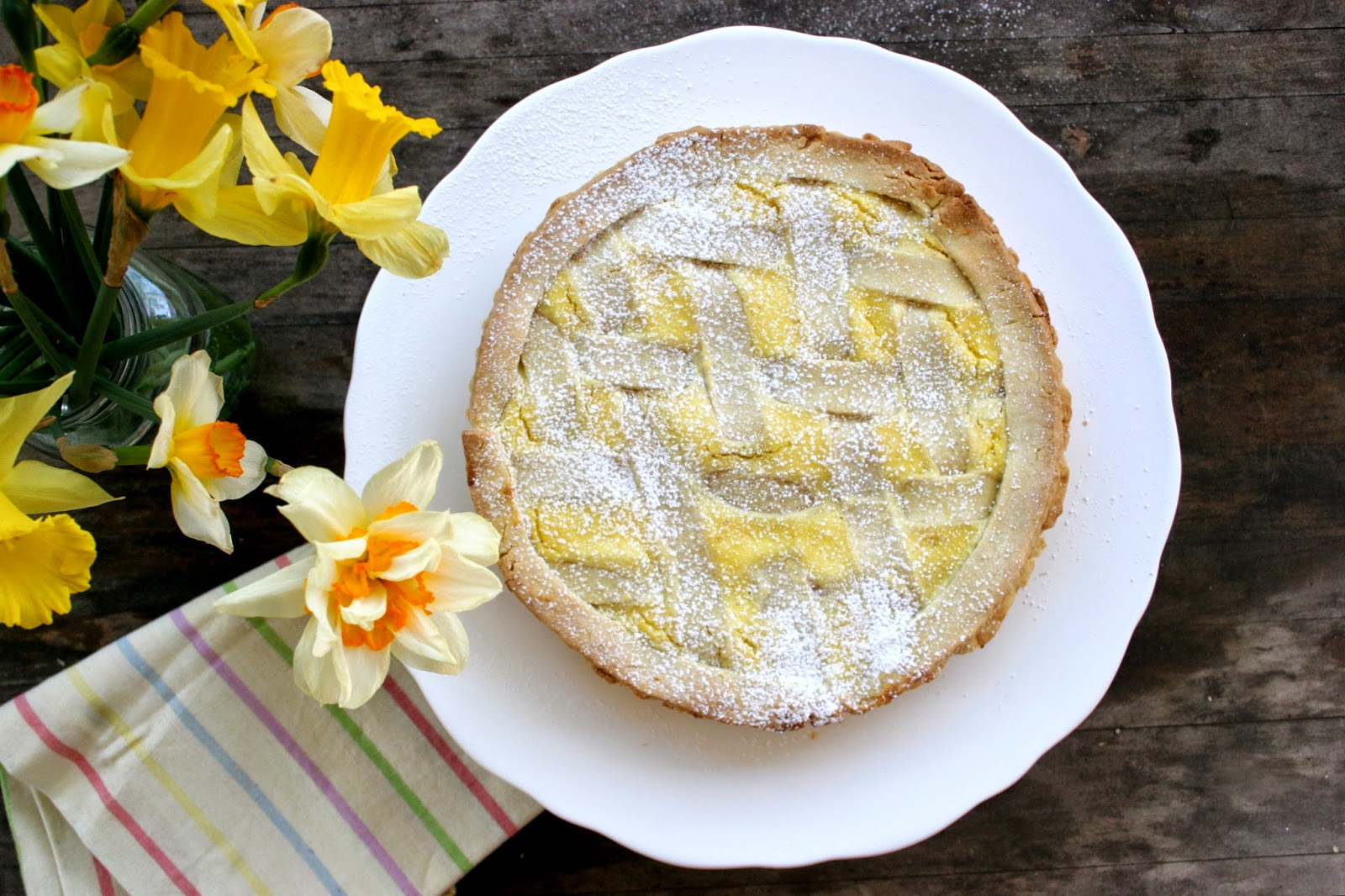 Lemon-Ricotta Crostata  and Daffodils