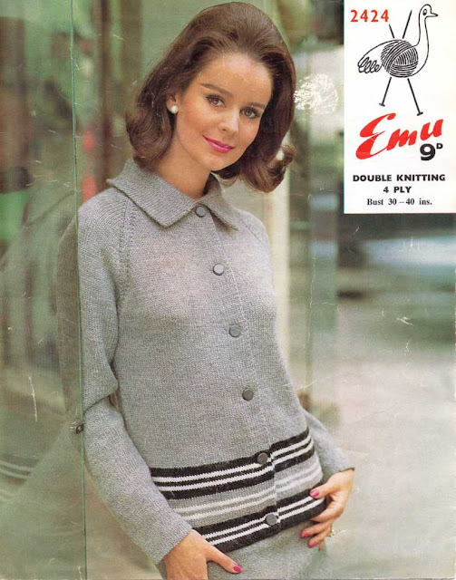 The Vintage Pattern Files Free 1960's Knitting Pattern - Womens Cardigan
