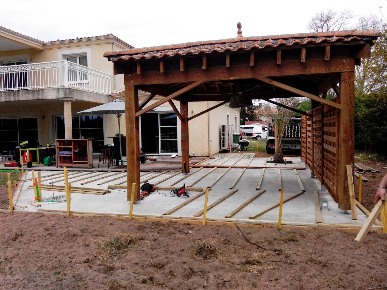 radier traditionnel en béton pour terrasse abri de jardin