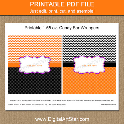 printable Halloween chocolate bar wrappers