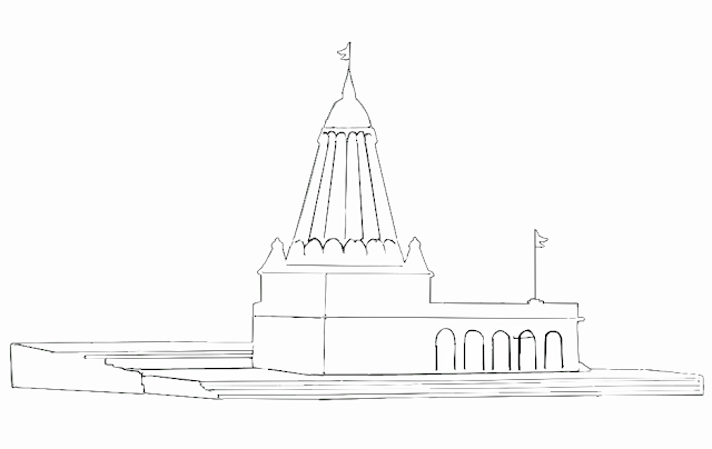 black and white line drawing of small Hindu temple