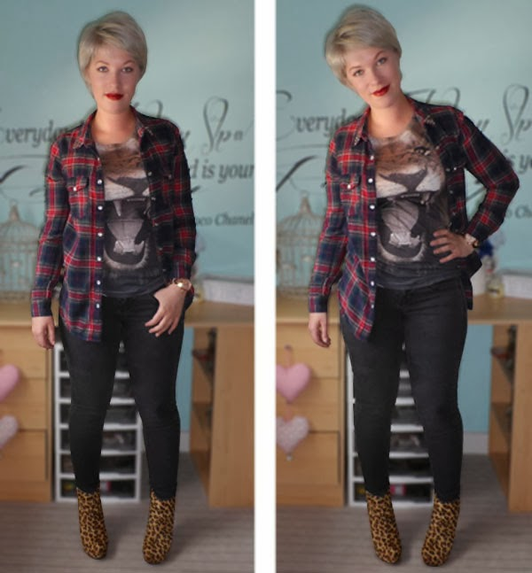 Lion Print Tee, New Look Checked Shirt, Topshop Leigh Jeans, River Island Leopard Print Dress