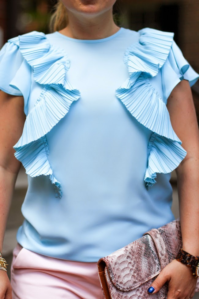 baby blue ruffled blouse