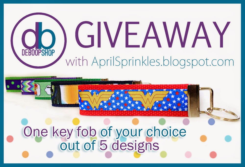 Giveaway with DeBoop Shop on April Sprinkles. Win a key fob of your choice