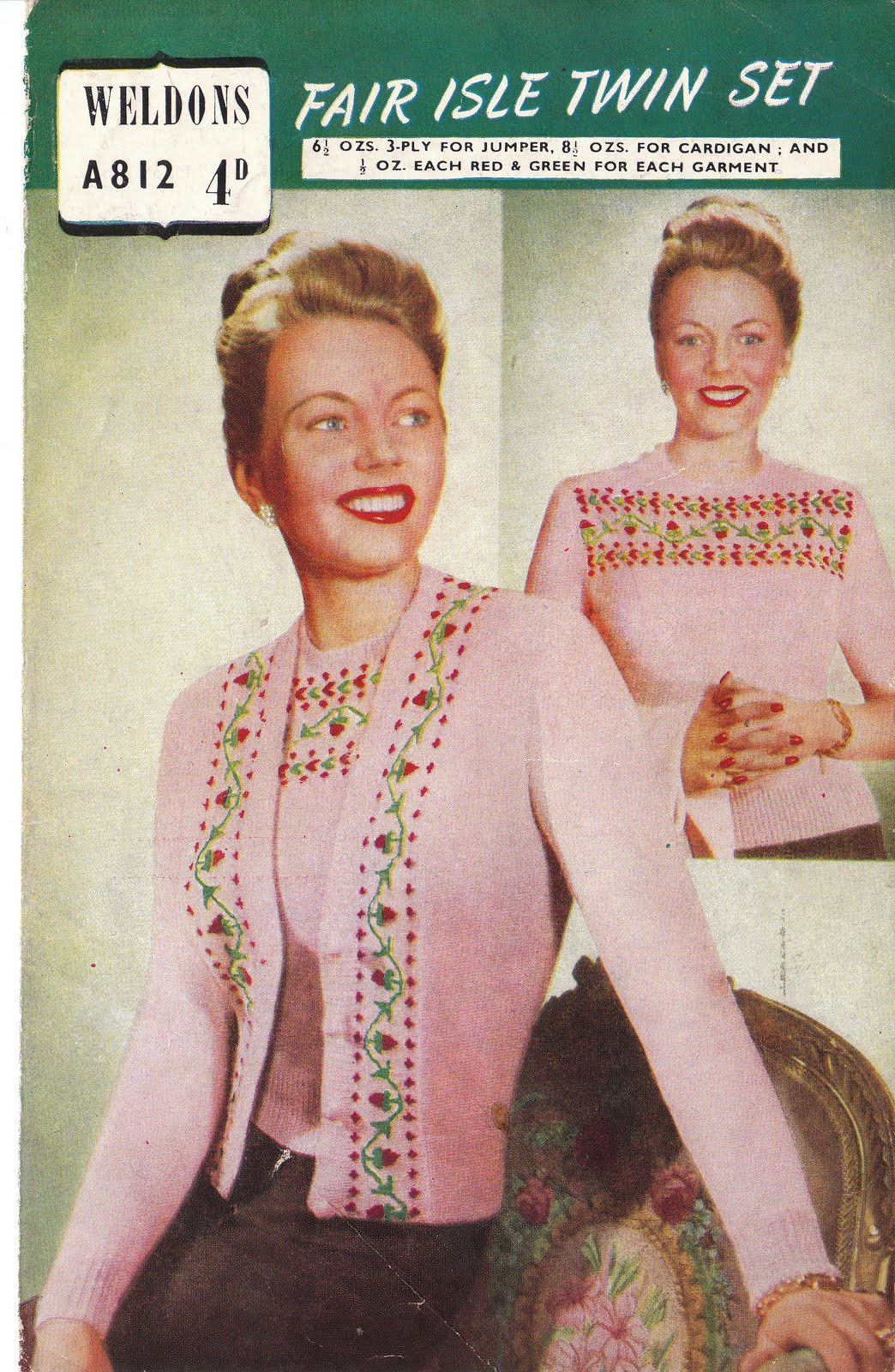 Knitting: Some beautiful fairisle knitting from the 1950s and 30s