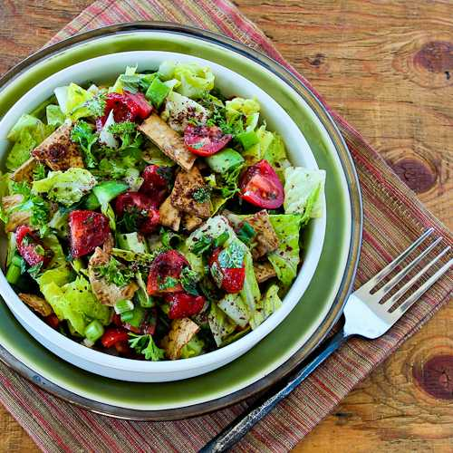 Recipe for Fattoush (Lebanese Crumbled Bread Salad with Sumac and Pita Chips