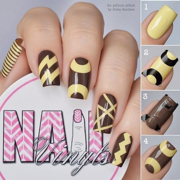 Brown y amarillo Nail Art Tutorial - Moda y Vida