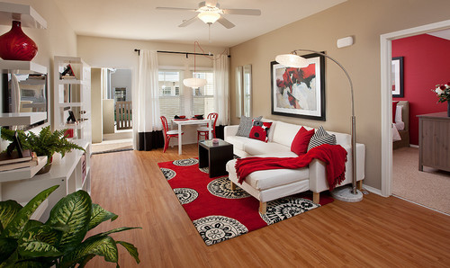if the rug is used as an accent it should be small enough that none