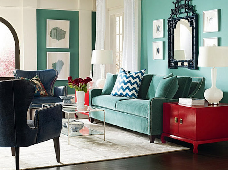 Red and Turquoise Living Room Decorating Ideas