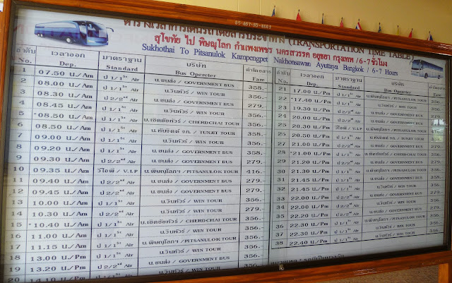 Sukhothai to Bangkok bus timetable