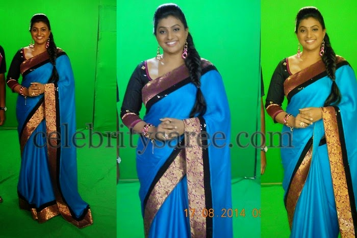Roja Blue Plain Silk Saree