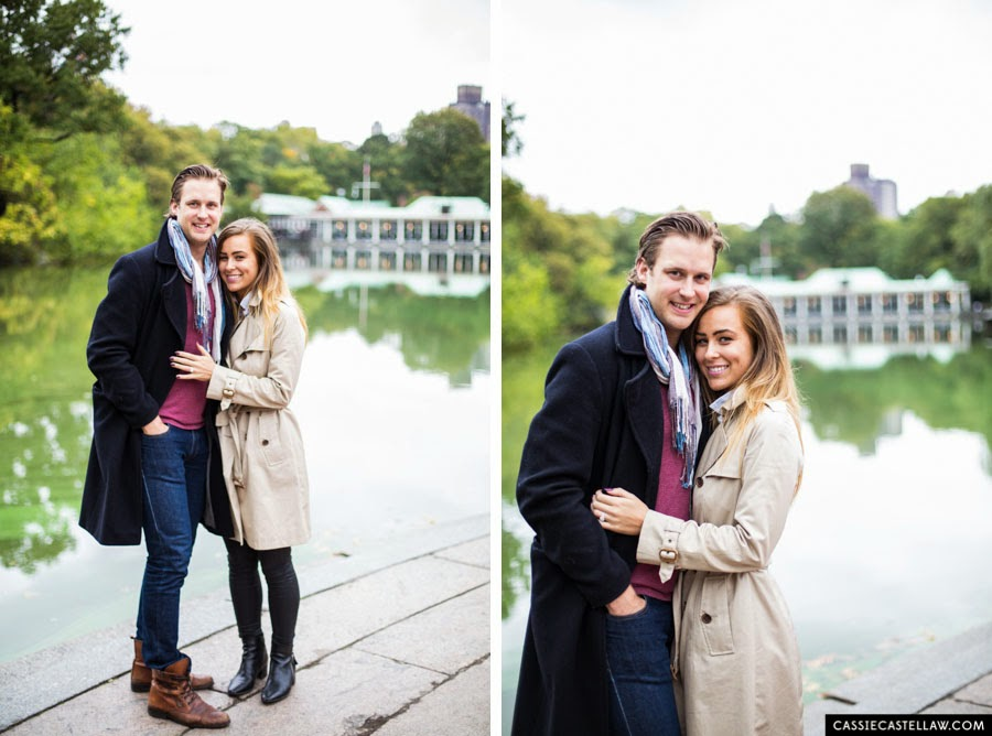 Lifestyle Engagement Photos, The Lake, Bethesda Terrace Central Park NYC - www.cassiecastellaw.com