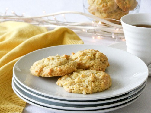 White Chocolate Lemon Macadamia Nut Cookies - makes about 18