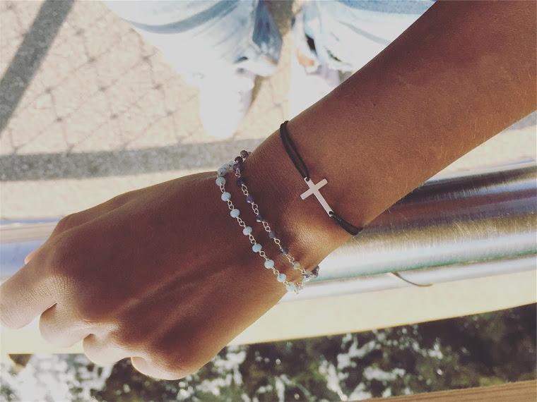Bracelets collection Précieuse / bracelet cordon croix argent 925°