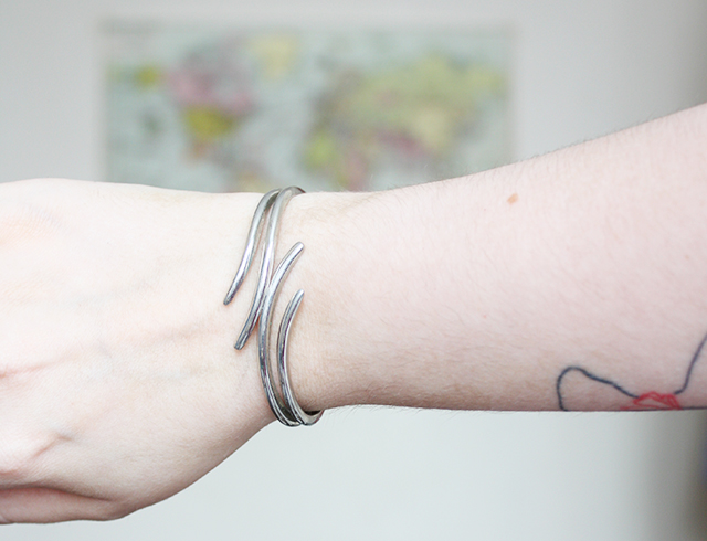 outfit post on cardboardcities blog - silver bracelet