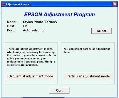 Epson Stylus Photo TX700w Resetter Download