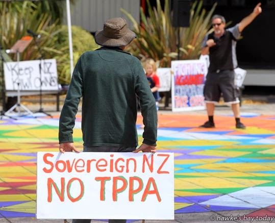 Rally in Civic Square, Hastings, part of a nation-wide Day of Action against the TPPA. photograph