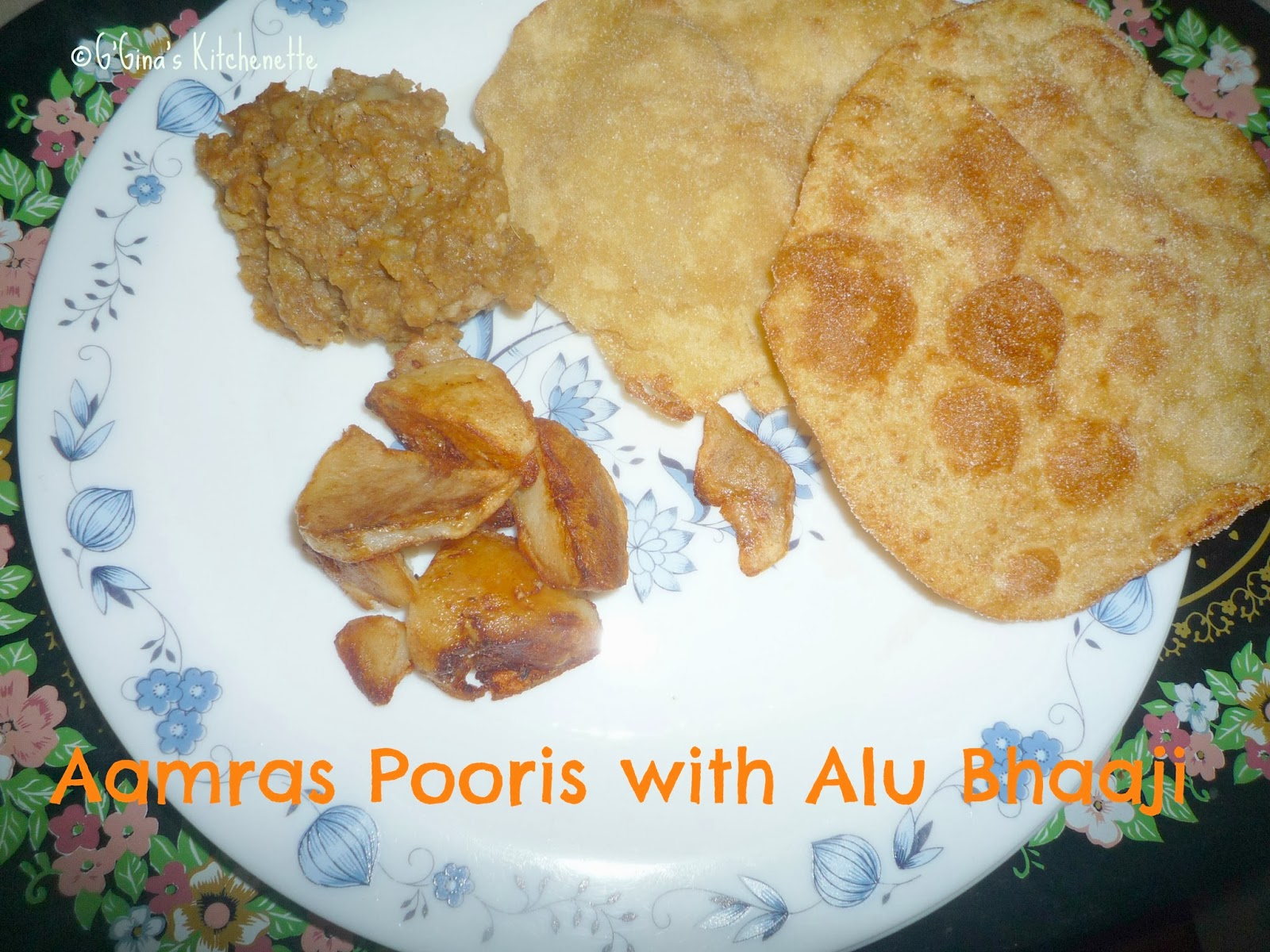 ... Alu Bhaaji (Fried Mango-pulp Indian bread with spiced Potato mash