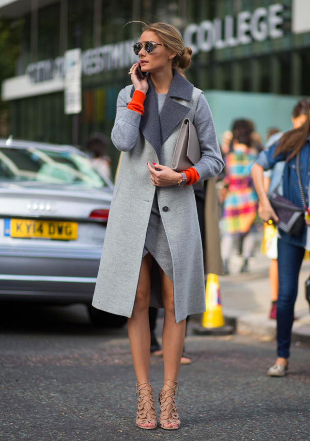 lace up sandals with trench spring trend 2015 Olivia Palermo
