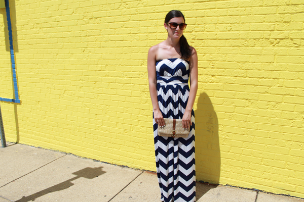 Windsor navy/white chevron maxi dress, Gap straw clutch