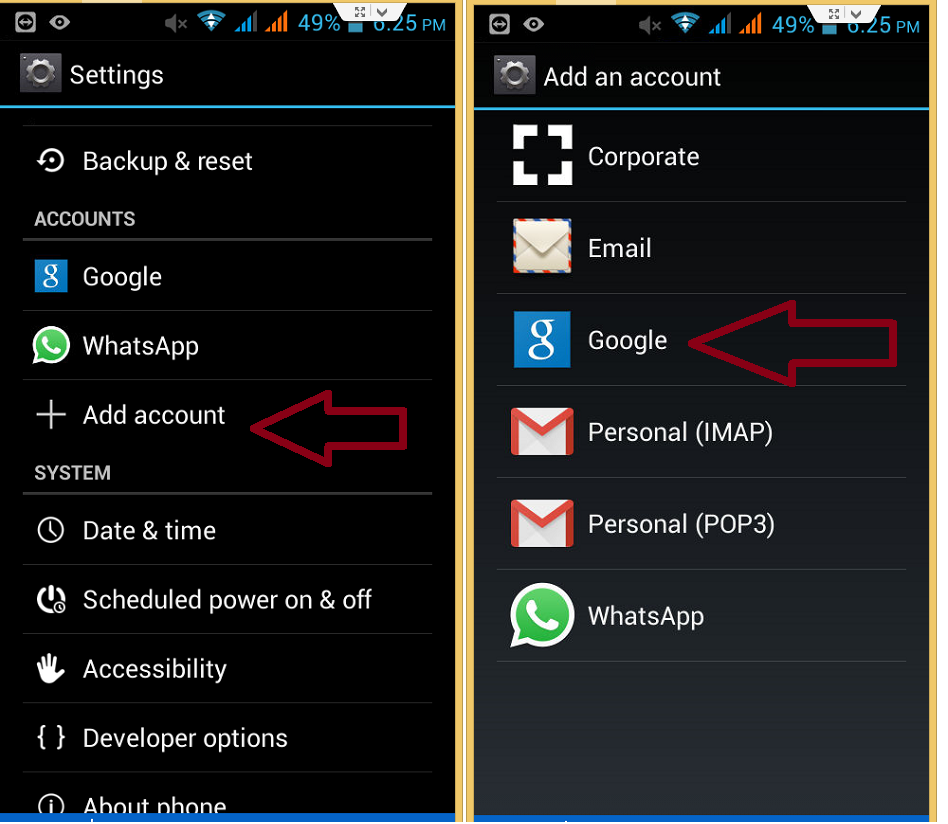 How to add account in Android mobile phone