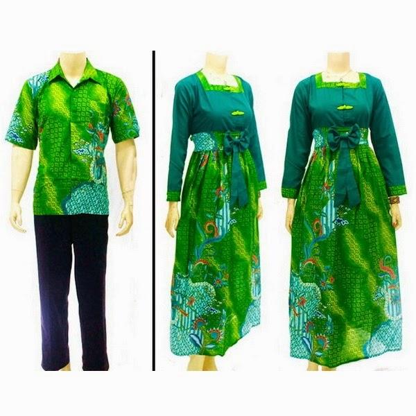 Baju Batik Pasangan Muslim katun motif daun