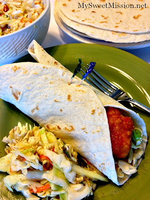 Sweet & Spicy Crispy Chicken Wraps with Oriental Slaw by MySweetMission.net
