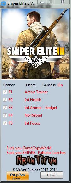 Sniper Elite 3 V1.00 Trainer +5 MrAntiFun