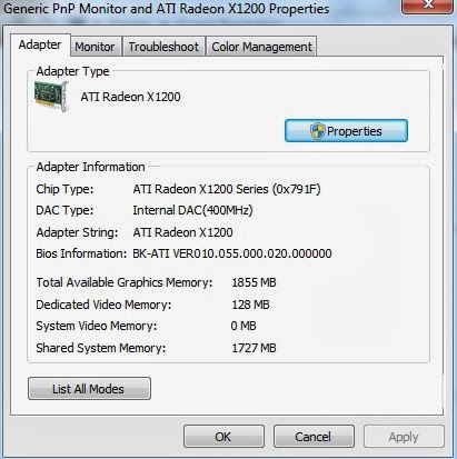 how to find out dedicated video ram