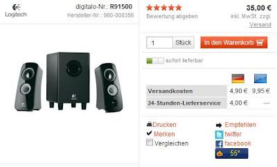 PC-Lautsprechersystem Logitech Z323 bei digitalo mit Gutschein-Code feb735di für 27,23 Euro