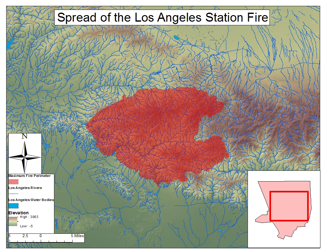 map 3 map of the extent of the los angeles station fire with rivers and water bodies