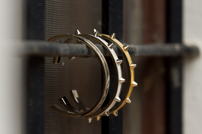 New Stamerra Luxury Bracelets leather python and gold spikes