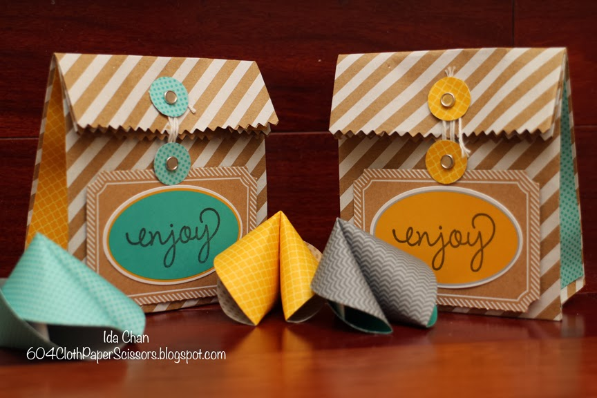 Paper Fortune cookies and take out bag by Ida Chan #StampinUp Vancouver