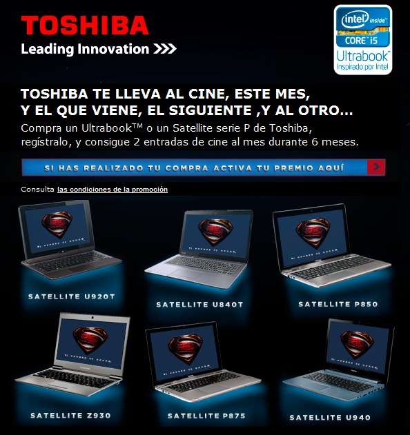 Consigue 2 entradas de cine al mes durante 6 meses con Toshiba.