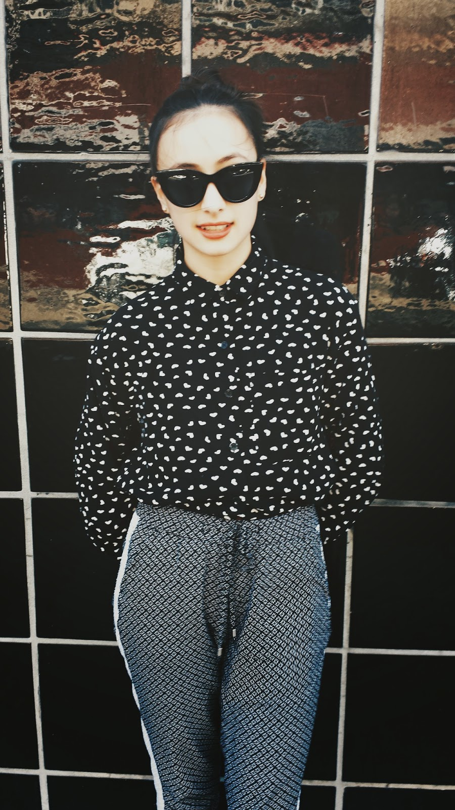 Audrey Sides, Old Navy, Forever 21, black and white, Oakland, DB Shoes, Sunglasses, cat eye, fashion, style, fashion blog, fashion blogger, blog, blogger, style blogger, wasian, the sarcastic wasian, sarcastic wasian, oxfords, cutouts, shoes, pants, button down